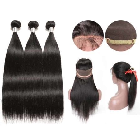 360 Frontal Wig With Bundles Malaysian Straight Human Hair (4)