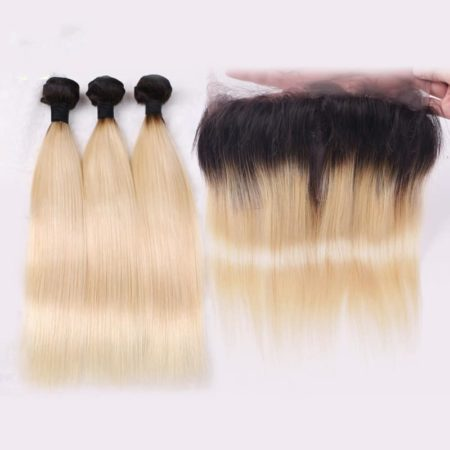 360 Frontal With Bundles Cheap 1B 613 Ombre Blonde Remy Brazillian Human Straight Hair (5)