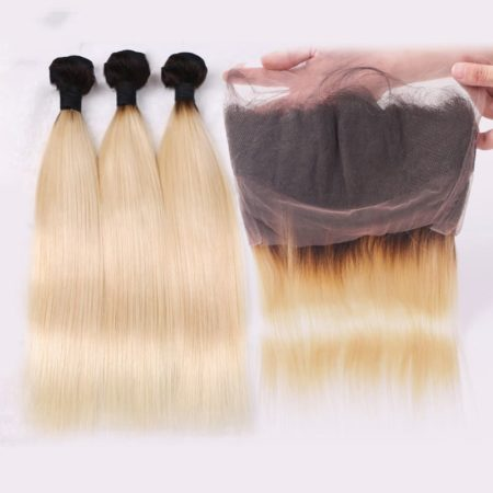 360 Frontal With Bundles Cheap 1B 613 Ombre Blonde Remy Brazillian Human Straight Hair (6)