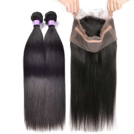 360 Frontal With Bundles Peruvian Straight Remy Human Hair (1)
