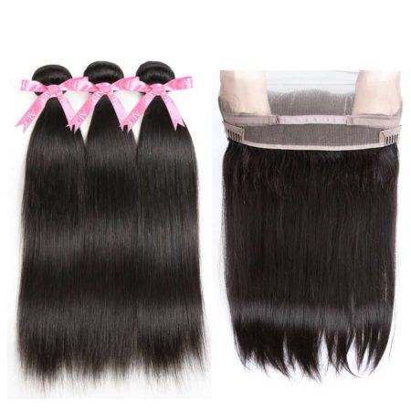 360 Lace Frontal And Bundles Brazilian Straight Human Hair Weave (1)