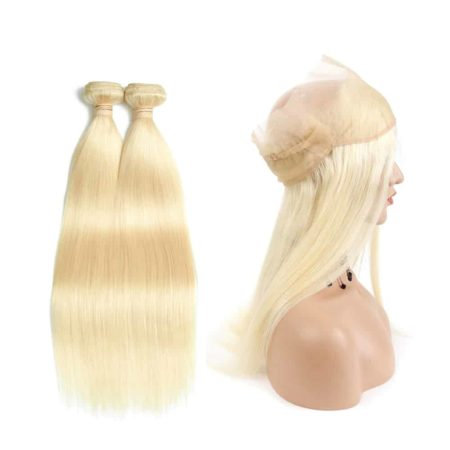 360 Lace Frontal With Bundles Brazilian 613 Blond Hair Human Weave (1)