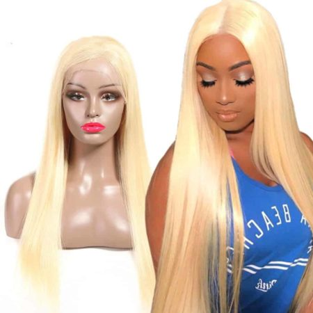 613 Blonde Brazilian 13x6 Straight Lace Front Human Hair Wigs 150% Density (5)