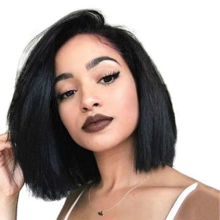 613 Blonde Short Straight Lace Front Human Hair Bob Wigs For Women (1)