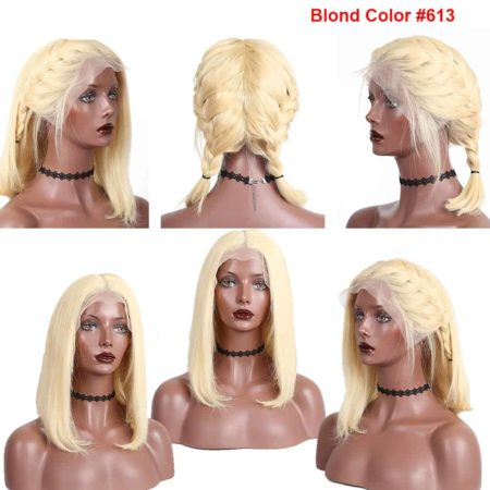 613 Blonde Short Straight Lace Front Human Hair Bob Wigs For Women (2)