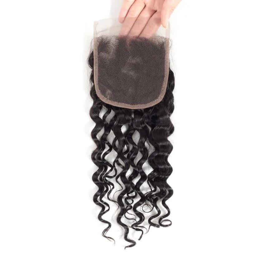 Brazilian Natural Wave 4x4 Closure With Human Baby Hair Bleached Knots (2)