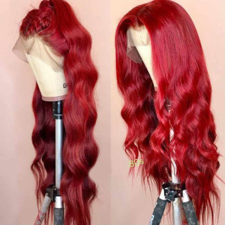Brazilian Red Burgundy Wavy Colored Full Lace Front Human Hair Wigs (5)