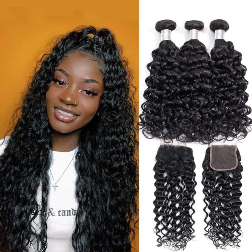 Brazilian Water Wave Human Hair Weave Bundles With Closure (1)