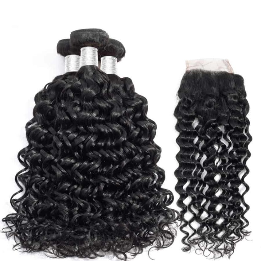 Brazilian Water Wave Human Hair Weave Bundles With Closure (3)