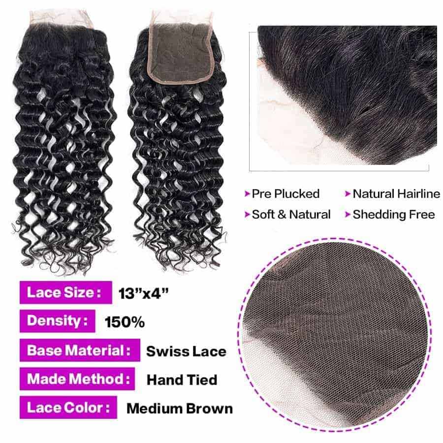 Brazilian Water Wave Human Hair Weave Bundles With Closure (4)