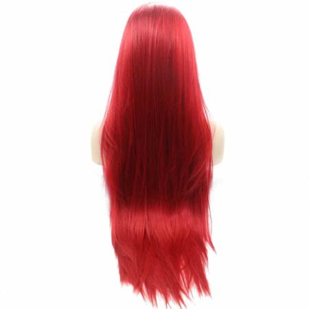Fiber Long Red Full 360 Lace Front Wig Straight Synthetic Hair (4)
