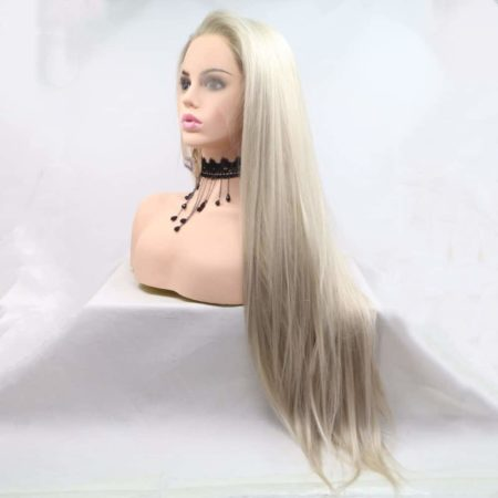 Glueless Blonde Ombre Lace Front Synthetic Wigs With Dark Roots (2)