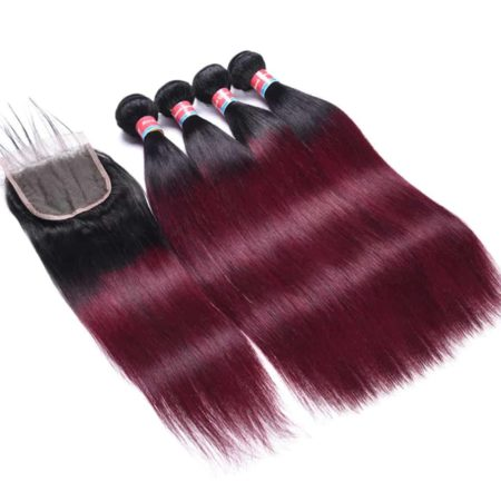 Ombre 2 Tone T1B 99J Burmese Human straight Hair Weave 4 Bundles With Closure (1)