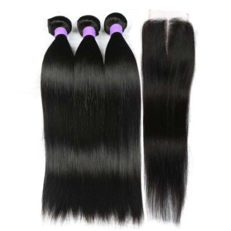Peruvian Human Straight Hair 3 Bundles With Lace Closure (4)