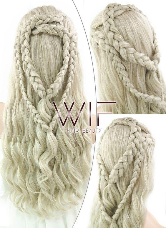 Ash-blonde braided lace front wig