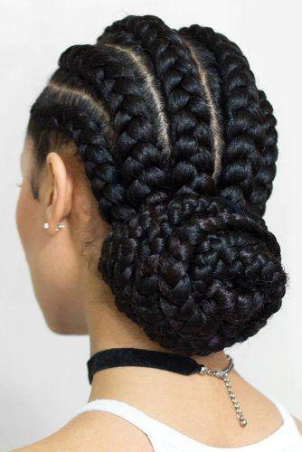 Cornrow braid with a bun style