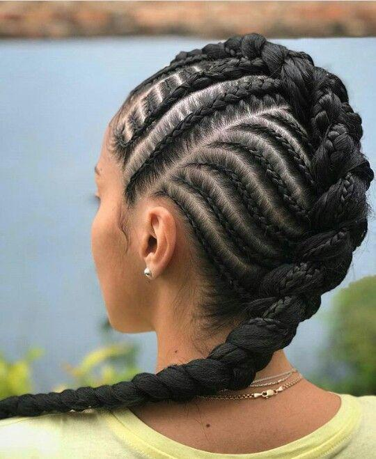 Elaborate pattern with the big braids
