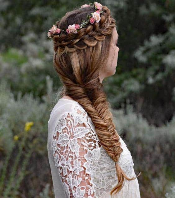 Flower embellishment crown braid