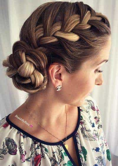 French braided sided bun