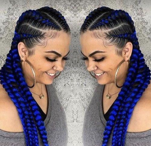 Light blue cornrow braids