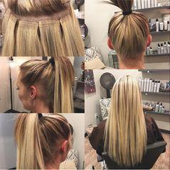 Ponytail with tape in extensions
