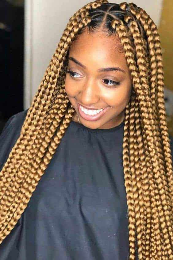Thick gold box braids
