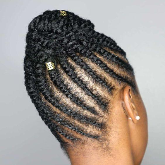 Twist and cornrow updo