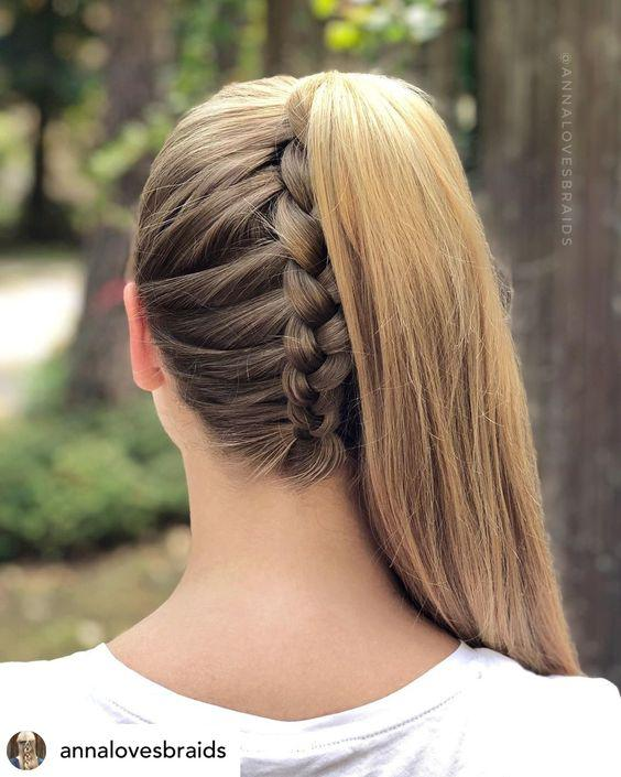 Upside down braided ponytail