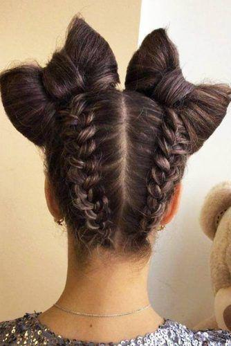 Upswept braids with two bows