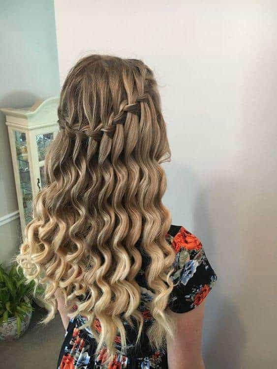 Waterfall braid with ringlets