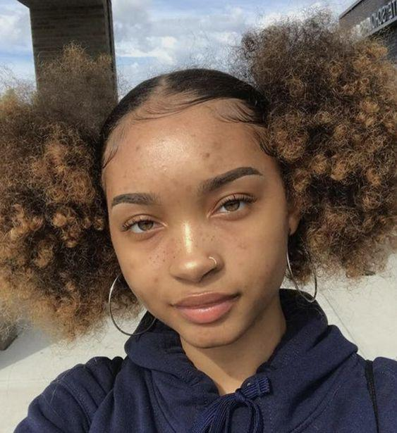 Afro puff hairstyle