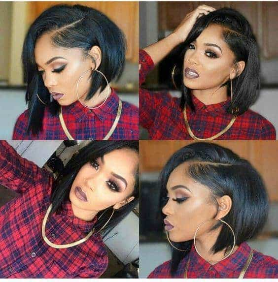 Asymmetry style with side parting