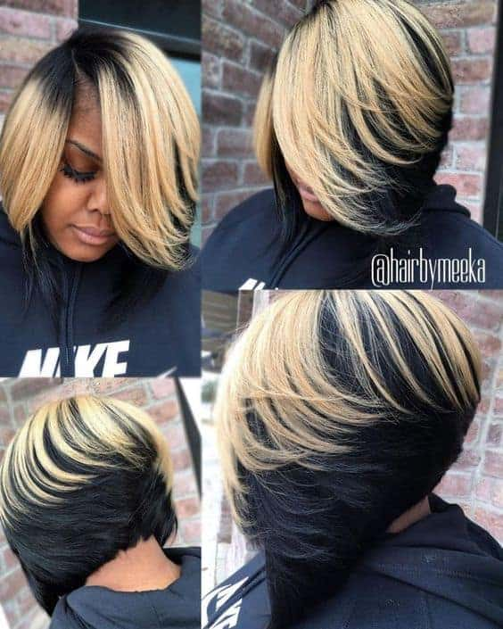 Black and blonde feathered layers