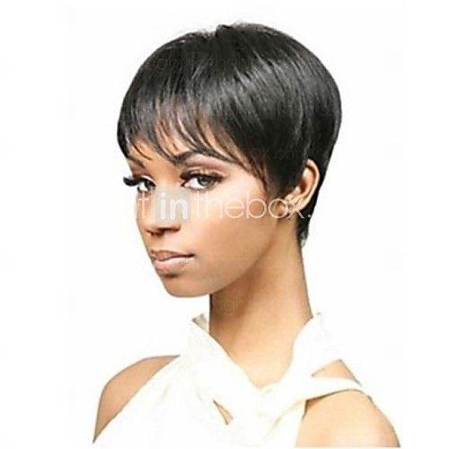 Black pixie hairstyle with bangs