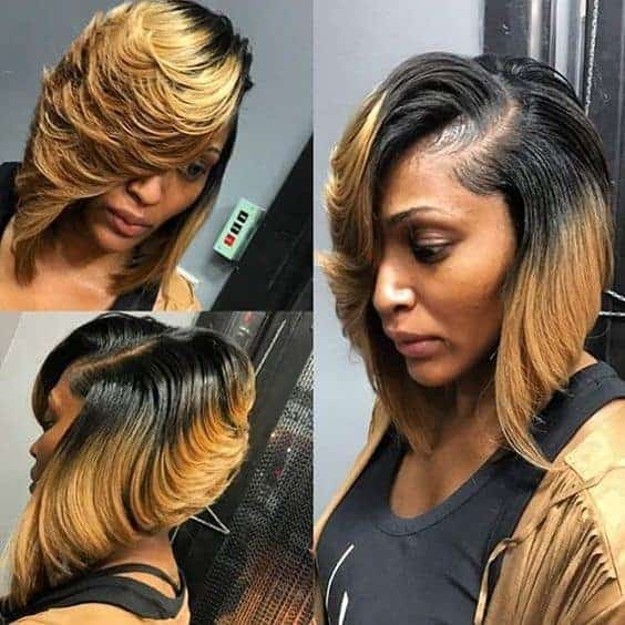 Blonde and black with feathered bang