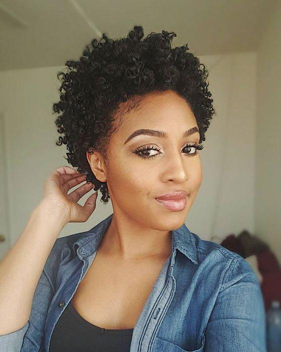 Coily pulled back puff
