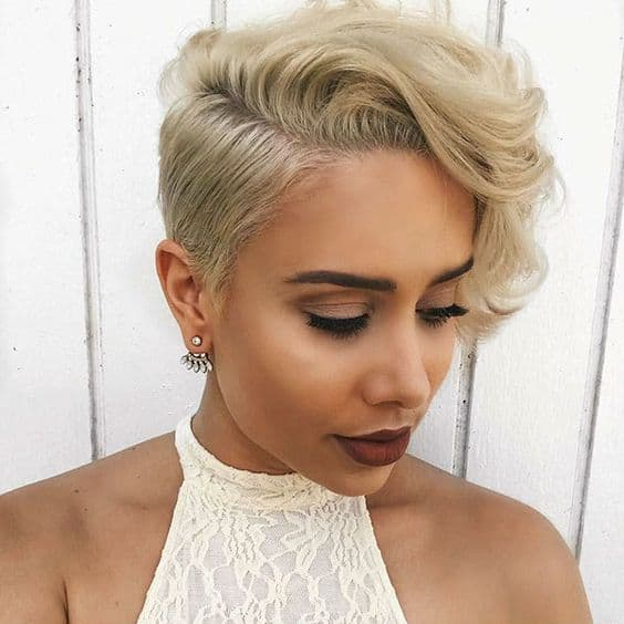 Curly blonde pixie