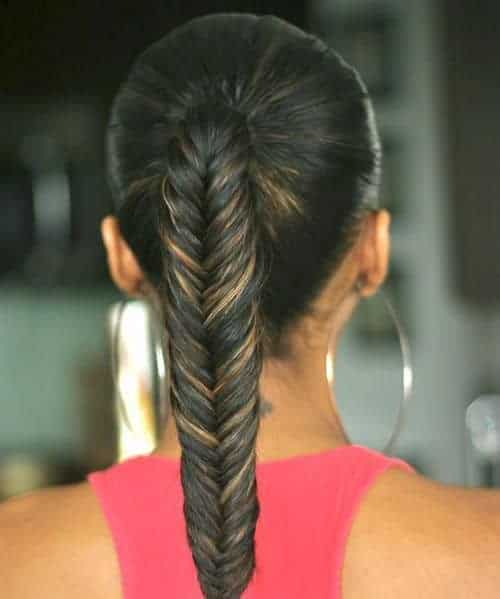 Fishtail braid with weave - simple ponytail with fishtail braid