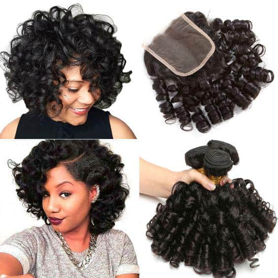 Short curly wig with closure