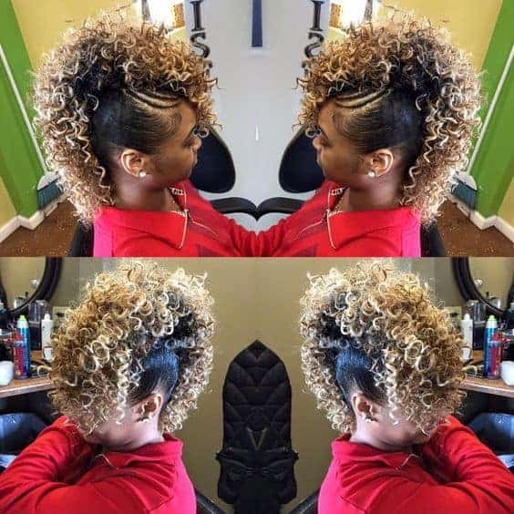 Curly and blonde mohawks style