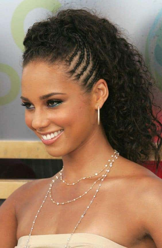 curly ponytail - alicia keys braided curly ponytail