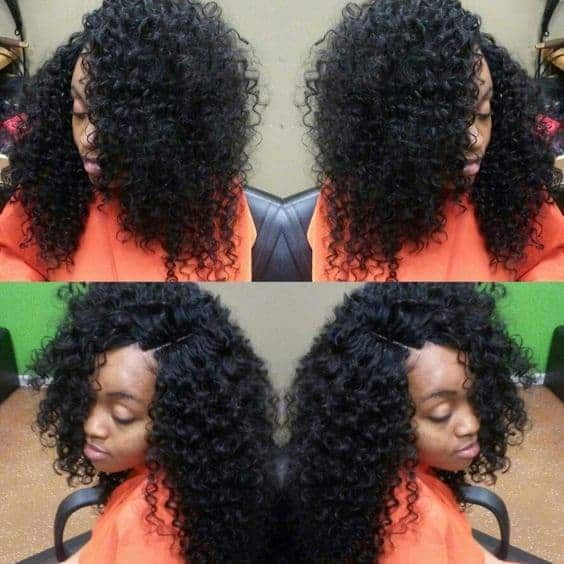 Curly weave with an invisible parting