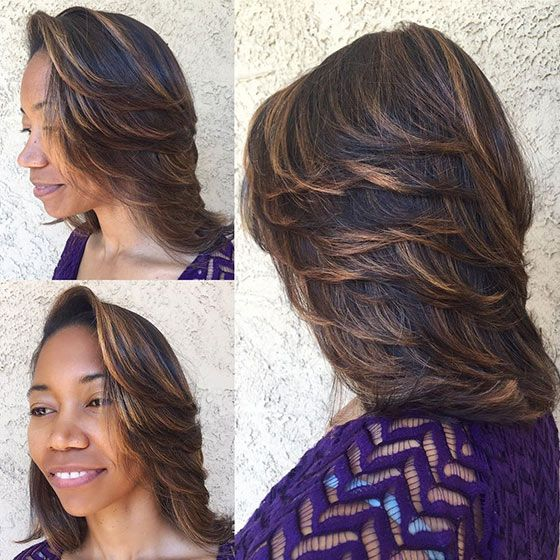 Feathered bob hairstyle