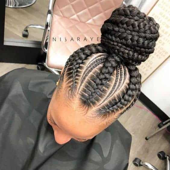Feed-in braids bun