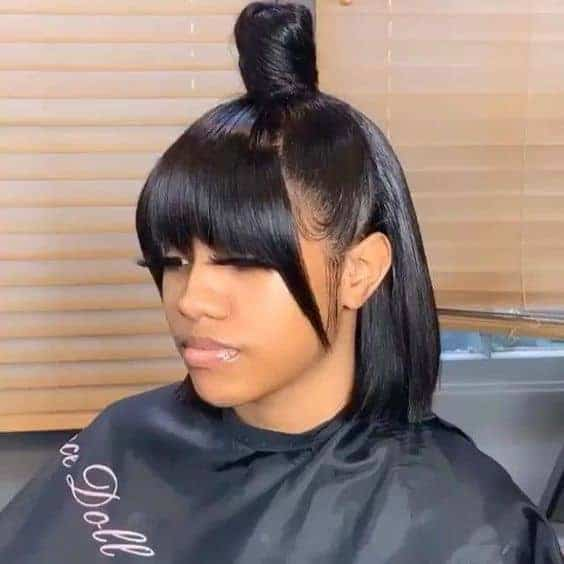 Frontal quick weave with bangs