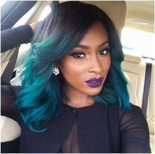 Green wavy hairstyle