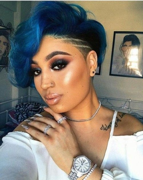Light blue bob with an undercut