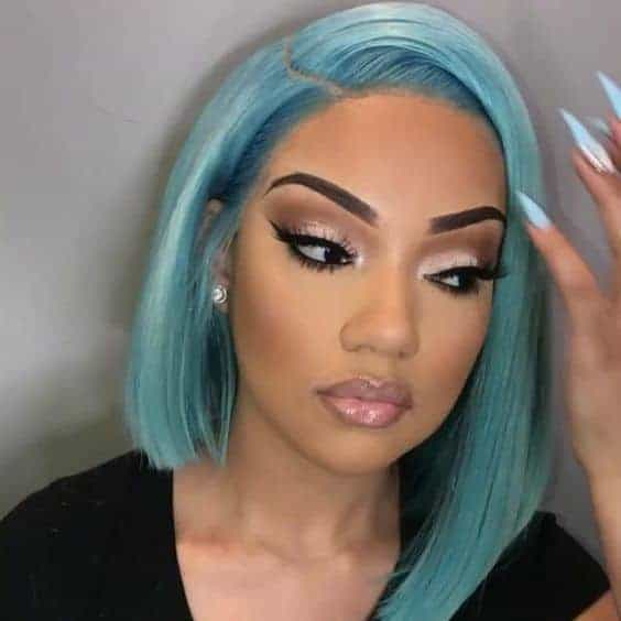 pale blue colored staight weave