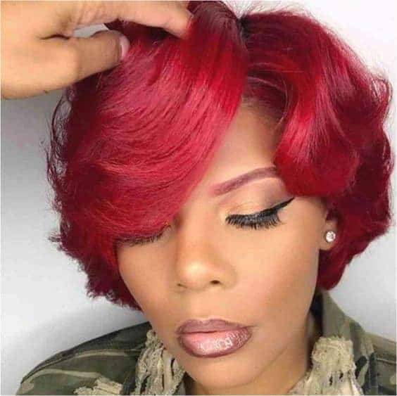 Red quick weave bob