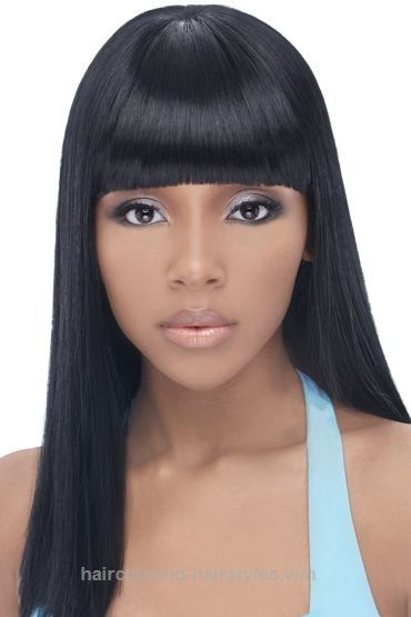 silky straight hair with china bangs